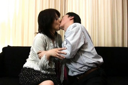 Mature Asian lady gets her tits licked