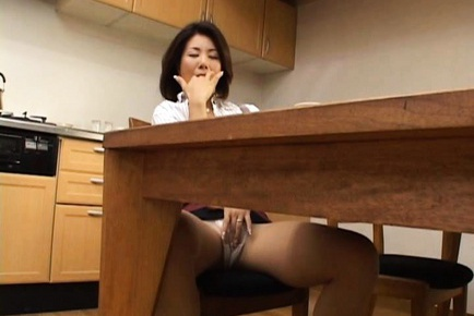 Mature Mio Fujiki Rides A Dildo On The Kitchen Floor