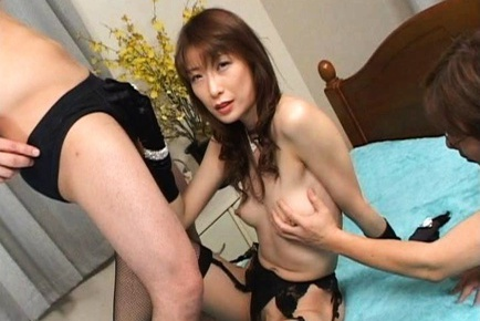 Two guys work hard for the pleasure of mature Nagisa Kurotani