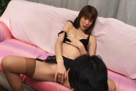 Masturbating Nagisa Kurotani lets her audience cum on her crotch