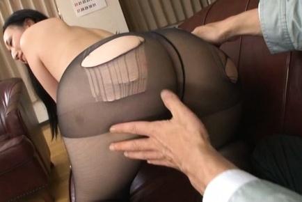 Long-haired Asian brunette Aya Shiina gets fucked doggie fashion