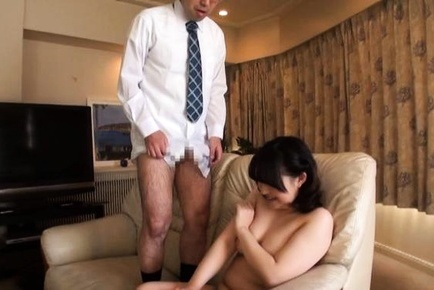 Hard cock sucking by steamy Japanese mature